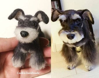 "4""Custom Needle felted realistic dog-Schnauzer.Miniature Art Sculpture. One of a kind. Wool animal sculpture. Poseable"