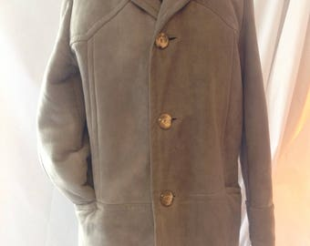 Grey/sheep leather/suede coat returned men /vintage 1970-80/minimalist/classic/size M