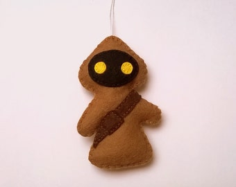 Felt Jawa ornament - Star wars inspired - SW movies - gift for him Christmas decor - May4th geekery charachters for boys kidsroom decoration