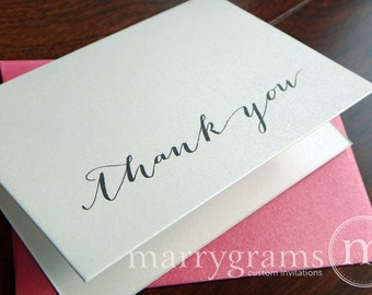 Wedding Thank You Cards - Bridal Shower Thank You Notes, or for Any Occasion - Fancy, Pink Envelopes - Bachelorette Party Thank You, Shower
