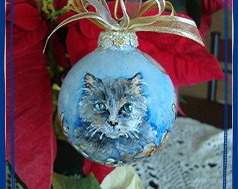 Hand Painted Glass  Ornament of Kitty Cat