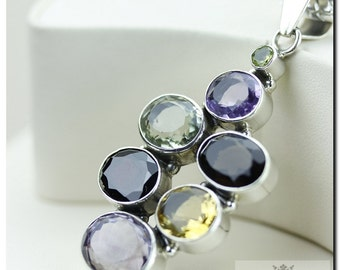 Made in Italy! Amethyst Prasiolite Smoky Topaz Citrine 925 SOLID Sterling Silver Pendant + 4mm Snake Chain & FREE Worldwide Shipping