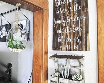 Bless the food before us, the family beside us, and the love between us, Wood signs, Kitchen signs, Dining room signs, Rustic signs