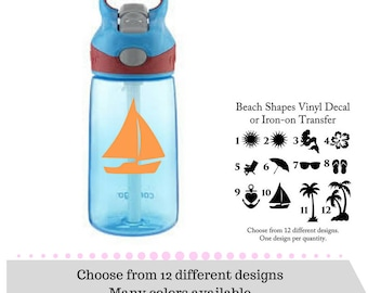 Beach Shapes Decals - Vinyl Decals - Mermaid Decal - Flip Flops Decal - Sunglasses Decal - Umbrella Decal OR Anchor Iron-on - Tree Iron-on