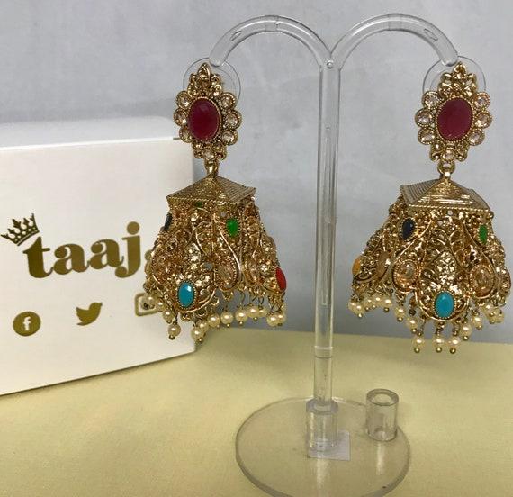 Risha Gold multi colour zirconia jhumka earrings, indian jewellery Pakistani bridal