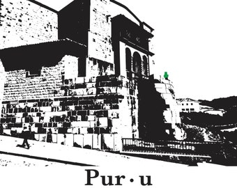 Cat print Cusco Peru Inca Architecture graphic illustration wall art