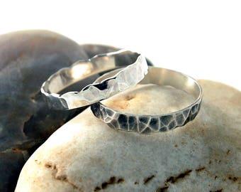 Stacking Silver Rings, Stacking Silver Ring Set, Silver Stacking Wedding Bands, Stacking Oxidized Rings, Stacking Wedding Bands