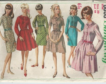 1970s Pattern - Dress With Straight or Full Skirt - Simplicity Pattern 6833 - 1966 - Uncut Pattern - Bust 101 cm