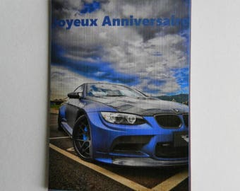 Voeux05 card. Birthday card, BMW lover. Handmade, handcrafted