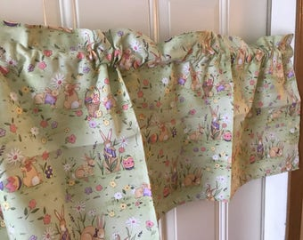 Easter Springtime Easter Bunny and flowers curtain  Valance