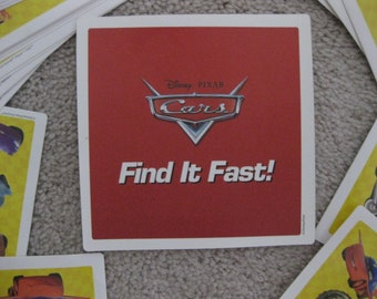 Cars Movie Find It Fast Card Game