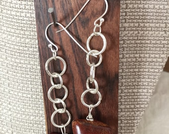 Handcrafted damgle Amber earrings Argentium silver Honey Amber nuggets hooks
