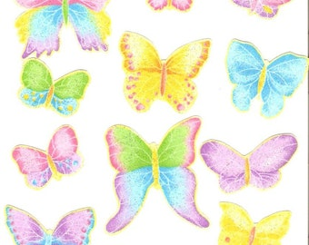 Pastel Butterflies - Iron On Fabric Appliques