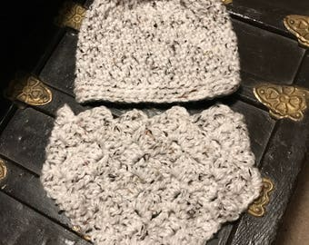 White Speckled Beanie Hat and Kerchief Cowl Set