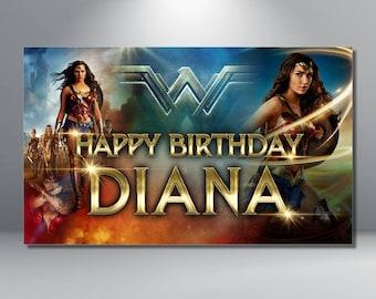 Wonder Woman Birthday Banner - Custom - Super Hero