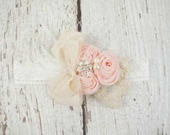 pink vintage rosette baby headband, girl couture headband, lace baby vintage headband, newborn headband, baby headband, baby, posh peanut
