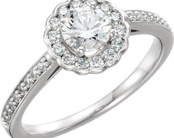 1/2 ct   5mm  Round Forever Brilliant Moissanite Solid 14K White Gold  Halo-Styled  Engagement  Ring ST233578