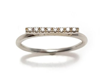 Unique Engagement Ring, Diamond Bar Ring, Diamond Bar Stackable Ring, Pave Diamond Bar Ring, Solid gold diamond ring, White gold ring