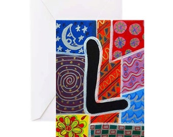 """ALPHABET LETTER """"L"""" - 4 Greeting Cards By Artist A.V.Apostle"""