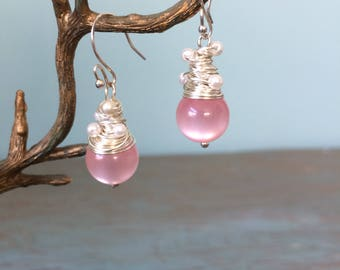 Pink beaded earrings wire wrapped with seed pearls