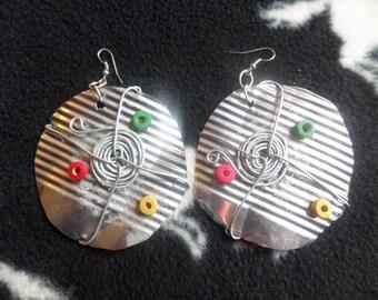 Tribal style tin can earrings