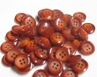 Buttons classics, destash, set of 64 tomette red 4 holes, diam 2-tone buttons. 14mm