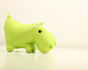 Small soft toy hippo. Baby green toy. Stuffed animal for nursery decor. Cotton fabric toy. Handmade baby gift.