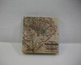 Map Fridge Magnets  /  Washington DC Vintage Map Magnet  /  Refrigerator Magnets  / Magnet for Home, School, or Office
