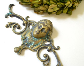 vintage brass architectural wall mount ornate head wall decor