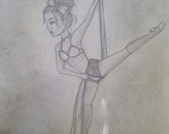 Circus Aerialist Silks Original Graphite Drawing