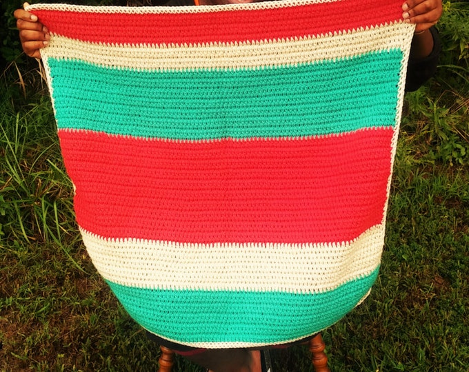 READY TO SHIP Colorful Crochet Baby Blanket