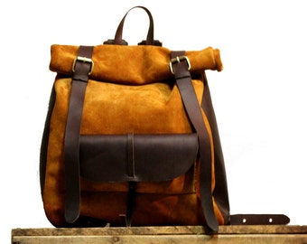 Roll Top backpack with front pocket - Fully handmade from Ocher Suede/Oiled leather