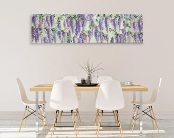 Wisteria large square horizontal. Painting for double bedroom. Painting of purple wisteria in blossom. Important Gift Wedding