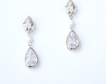 Modern Minimalist Pear Drop Cubic Zirconia Earrings Cubic Zirconia Teardrop Cocktail Earrings Best Gifts For Her