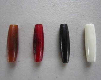 "100   Buffalo Bone/Horn 1""  Hairpipe Beads Amber, Black Red & White Jewelry/craft Making"