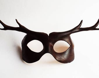 Brown Deer Leather Mask