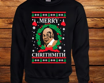 Merry Christmas Mike Tyson Crew Neck, UGLY CHRISTMAS SWEATER, Merry Chirithmith