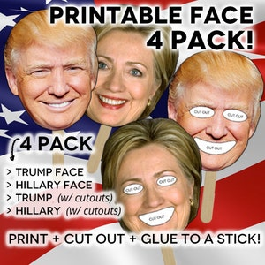 DIGITAL DOWNLOAD // Election Party Printable 4 Pack Faces of Hillary Clinton Donald Trump Party Favor