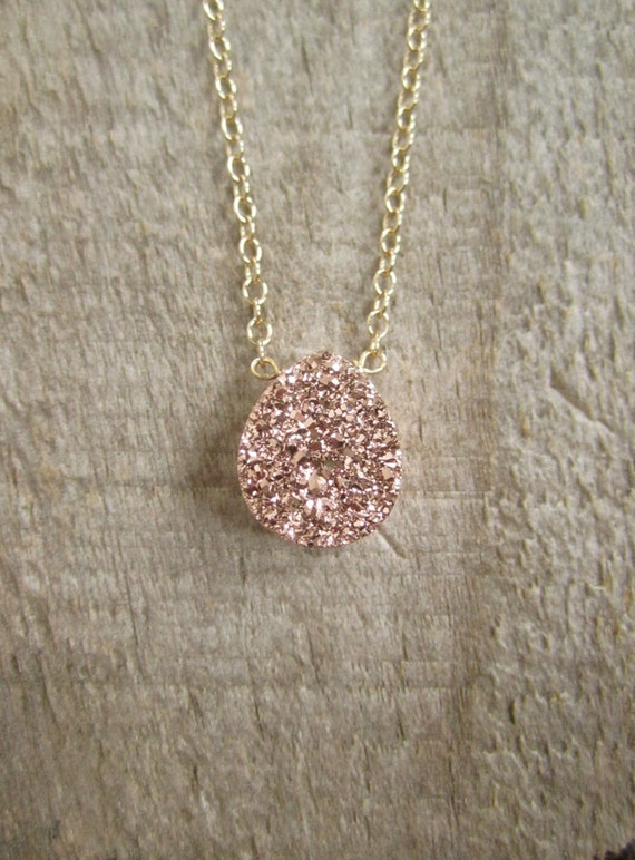 necklace druzy titanium listing pendant gold drusy fill il quartz rose