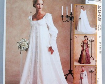 Wedding Gown Pattern - Renaissance, Empire bodice, sleeve options, overskirt, train; Uncut McCall's sewing pattern 2645 size 14-18