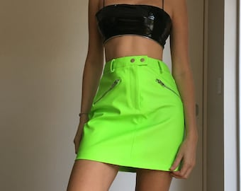 Neon PU/vegan leather mini skirt XS
