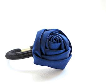 Satin Flower Ponytail Holder/ Navy Blue Ponytail Holder/ Girl Ponytail Holder/ Blue Satin Ponytail Holder/ Blue Flower Ponytail Holder