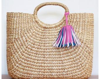 Market tote, straw bag, picnic basket, picnic tote,  market bag, beach bag (Sara Market tote)