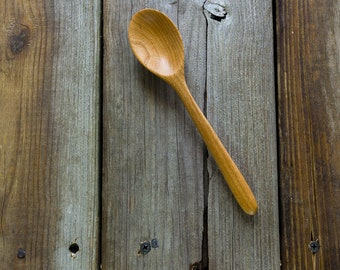 Wooden condiment, eating and tea spoon handmade in cherry with oval bowl and  handle sanded super smooth
