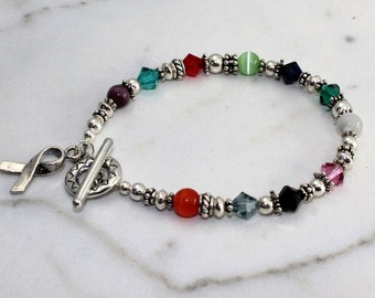 Sterling Silver Cancer Awareness Bracelet