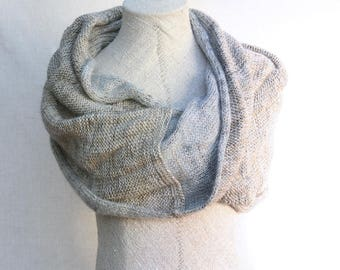 Solid marled mohair knit | Beach garden party wrap | cafe wraps | bridesmaid gifts | shoulder wrap | solid colored knit - Silver Sand