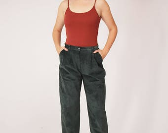 Green Suede Pants - Medium, Leather, High Waisted, Minimalist, 80s Trousers, Pants