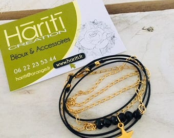 Bracelet three towers - Crystal - leather - star charm - Hariti