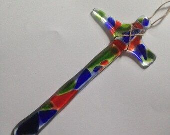 Glass fired cross - Multi colored -large