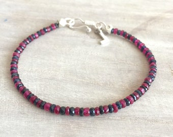 Men's Bracelet with Sapphire and Ruby Stones